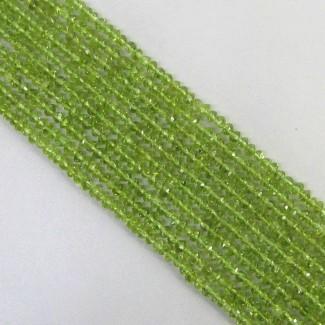 Peridot 3-3.5mm Hand Cut Rondelle Shape Beads Strand