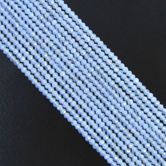 Natural Blue Chalcedony 3-3.5mm Micro Faceted Rondelle Shape Beads Strand