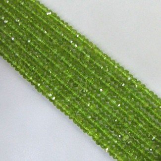 Peridot 3-3.5mm Faceted Rondelle Shape Beads Strand