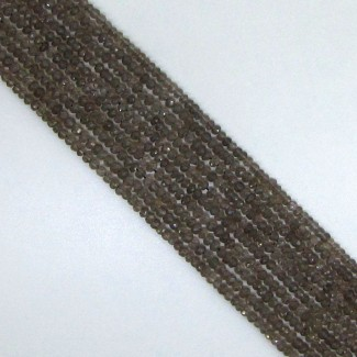 Smoky Quartz 3-3.5mm Faceted Rondelle Shape Beads Strand