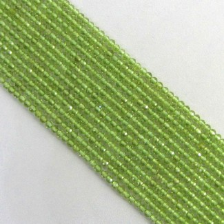 Peridot 3-3.5mm Micro Faceted Rondelle Shape Beads Strand