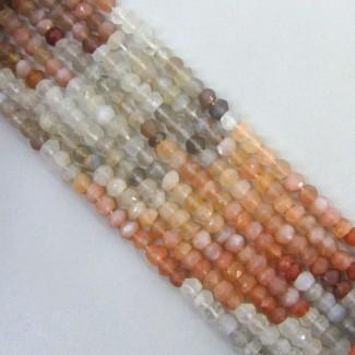 Multi Moonstone 3-3.5mm Hand-Cut Rondelle Shape Beads Strand