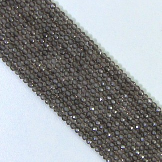 Smoky Quartz 3-3.5mm Micro Faceted Round Shape Beads Strand