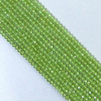 Peridot 3-3.5mm Micro Faceted Round Shape Beads Strand