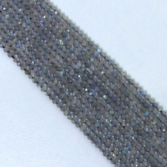 Labradorite 3-3.5mm Micro Faceted Round Shape Beads Strand