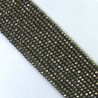 Pyrite 3-3.5mm Micro Faceted Rondelle Shape Beads Strand