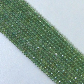 Green Apatite 2-2.5mm Micro Faceted Rondelle Shape Beads Strand
