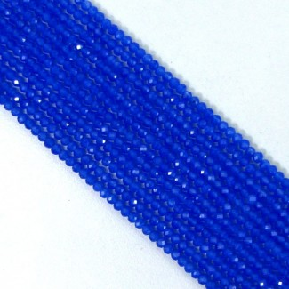 Blue Chalcedony 2-2.5mm Micro Faceted Rondelle Shape Beads Strand
