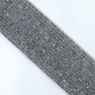 Labradorite 2-2.5mm Micro Faceted Round Shape Beads Strand