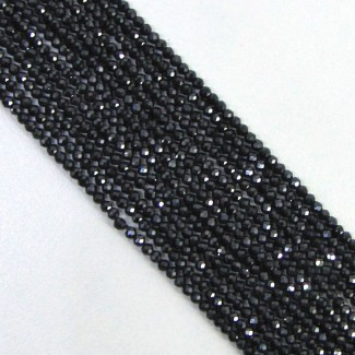 Black Spinel 2-2.5mm Micro Faceted Rondelle Shape Beads Strand