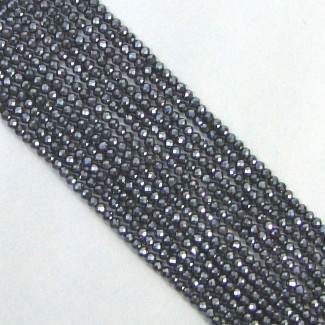 Hematite 2-2.5mm Micro Faceted Rondelle Shape Beads Strand