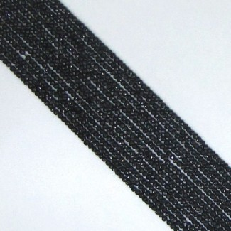 Black Tourmaline 2-2.5mm Faceted Rondelle Shape Beads Strand