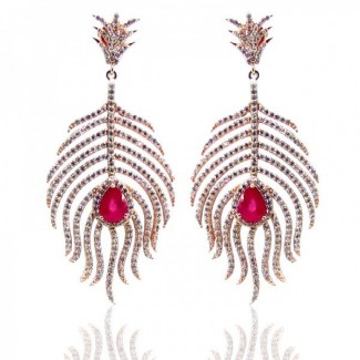 Ruby and Diamond White CZ 925 Sterling Silver Earrings
