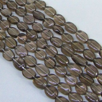 Smoky Quartz 8-10mm Smooth Oval Shape Beads Strand