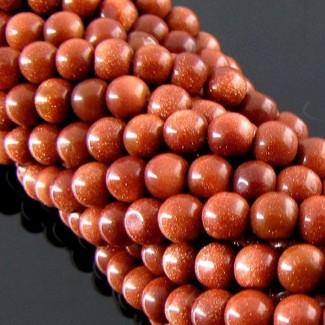 Gold Stone 5-5.5mm Smooth Round Shape Beads Strand