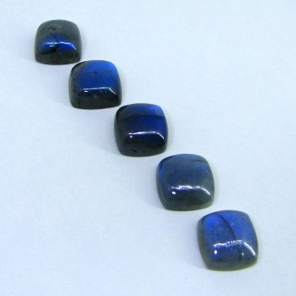 139.95 Cts. Labradorite 18mm Square Cushion Shape Cabochon Parcel (5 Pcs.)