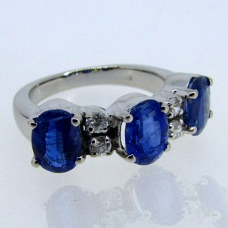 Blue Kyanite and Diamond White CZ 925 Sterling Silver Ring