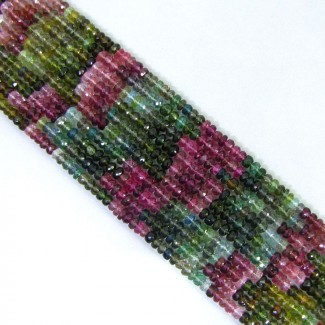 Multi Color Tourmaline 4-4.5mm Faceted Rondelle Shape Beads Strands