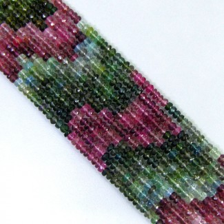 Multi Color Tourmaline 5-5.5mm Faceted Rondelle Shape Beads Strands