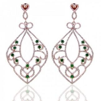 Emerald Green CZand Diamond White CZ 925 Sterling Silver Earrings