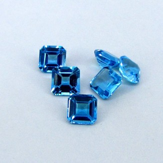 17.2 Cts. Swiss-Blue Topaz 8mm Octagon Shape Gemstone Parcel (6 Pcs.)