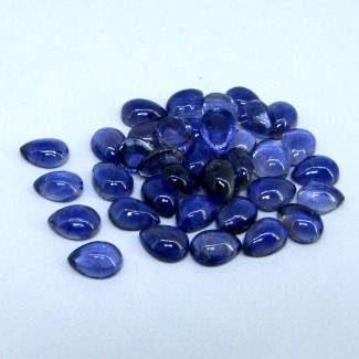 38.25 Cts. Iolite 8x6mm Pear Shape Cabochon Parcel (37 Pcs.)