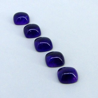 53.70 Carat African Amethyst 14x12mm Cushion Shape Cabochon Parcel (5 Pcs.)