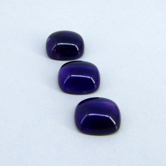 40.65 Carat African Amethyst 16x14mm Cushion Shape Cabochon Parcel (3 Pcs.)
