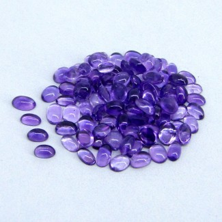 26.10 Cts. African Amethyst 5x3-5x4mm Oval Shape Cabochon Parcel (96 Pcs.)
