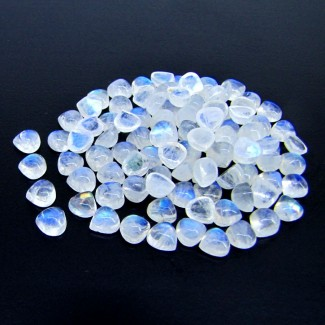 74.45 Carat Rainbow Moonstone 6mm Heart Shape Cabochon Parcel (95 Pcs.)