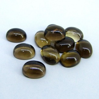 128 Carat Smoky Quartz 16x12mm Oval Shape Cabochon Parcel (11 Pcs.)