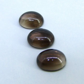 65.85 Carat Smoky Quartz 20x16mm Oval Shape Cabochon Parcel (3 Pcs.)