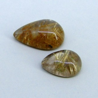 61.85 Carat Golden Rutile 21x16-29x19.5mm Pear Shape Cabochon Parcel (2 Pcs.)