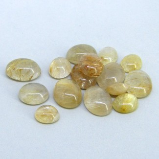 60 Carat Golden Rutile 8.5x7-14x10mm Oval Shape Cabochon Parcel (15 Pcs.)