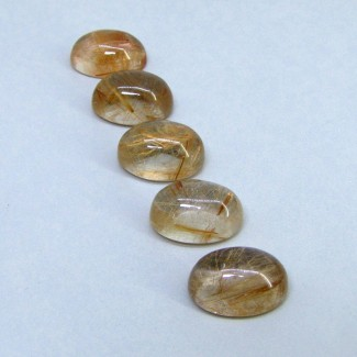 78.30 Carat Golden Rutile 18x13mm Oval Shape Cabochon Parcel (5 Pcs.)