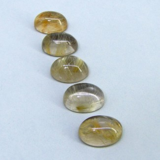 77.95 Carat Golden Rutile 18x13mm Oval Shape Cabochon Parcel (5 Pcs.)