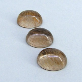 64.85 Carat Golden Rutile 20x15mm Oval Shape Cabochon Parcel (3 Pcs.)