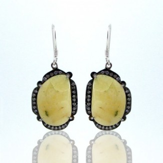 Yellow Sapphire and Diamond White CZ 925 Sterling Silver Earrings