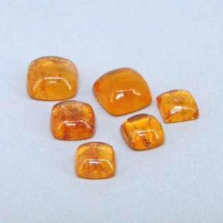 9.50 Cts. Spessartite Garnet 5-7mm Square Cushion Shape Cabochon Parcel (6 Pcs.)
