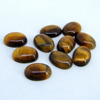 102.60 Cts. Tiger Eye 18x13mm Smooth Oval Shape Cabochon Parcel (10 Pcs.)