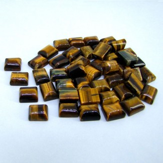 433.85 Cts. Tiger Eye 12x10mm Smooth Cushion Shape Cabochon Parcel (61 Pcs.)