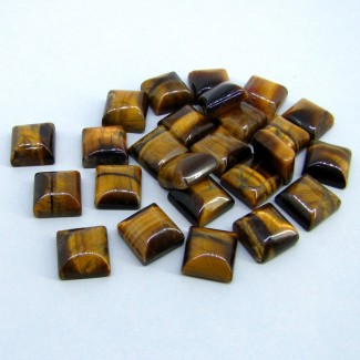 268.30 Cts. Tiger Eye 13mm Smooth Square Shape Cabochon Parcel (25 Pcs.)