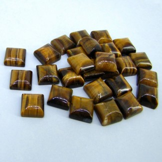 288.50 Cts. Tiger Eye 13mm Smooth Square Shape Cabochon Parcel (27 Pcs.)