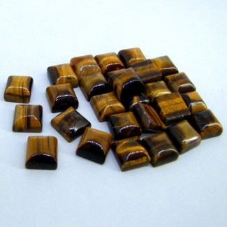 215.45 Cts. Tiger Eye 11mm Smooth Square Shape Cabochon Parcel (28 Pcs.)