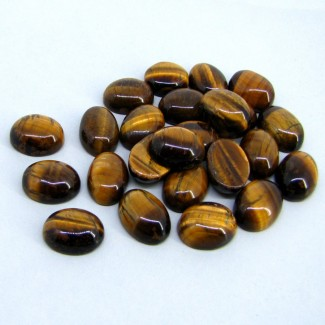 243.65 Cts. Tiger Eye 16x12mm Smooth Oval Shape Cabochon Parcel (24 Pcs.)