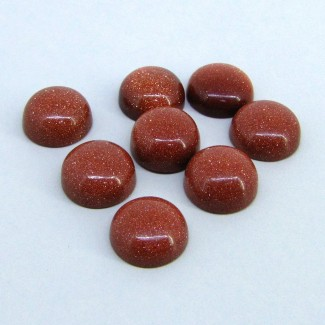 95.50 Cts. Sand Stone 14.5x15mm Smooth Round Shape Cabochon Parcel (8 Pcs.)