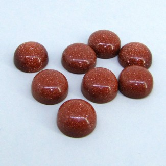108.55 Cts. Sand Stone 14.5x15mm Smooth Round Shape Cabochon Parcel (8 Pcs.)
