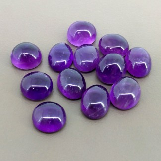 63.80 Cts. African Amethyst 11.5x10-12x10mm Smooth Oval Shape Cabochon Parcel (12 Pcs.)