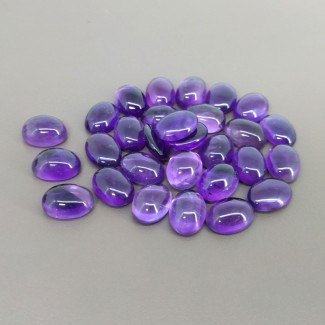 189 Cts. African Amethyst 14x10mm Smooth Oval Shape Cabochon Parcel (29 Pcs.)