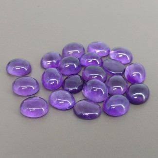 72.10 Cts. African Amethyst 11x9mm Smooth Oval Shape Cabochon Parcel (20 Pcs.)